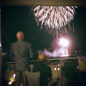 Watching the fireworks at Nelson Bay New Year's Eve. My friend Bruce to the left and Lenore to the right.